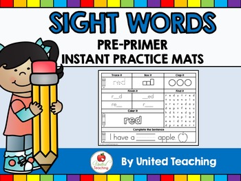 Sight Words Instant Practice Mats - Pre Primer Sight Words