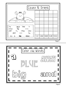 FREE Sight Words (a, and, away, big, blue)  Interactive Booklet 1.1