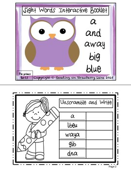FREE Sight Words (a, and, away, big, blue)  Interactive Bo