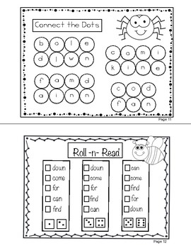 Sight Words (can, come, down, find, for) Interactive Booklet 1.2