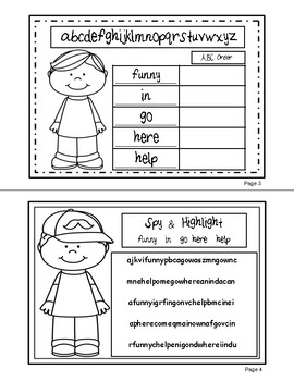 Sight Words (funny, go, help, here, in) Interactive Booklet 1.3