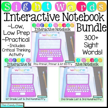 Sight Word Interactive Notebook Bundle with Over 300 Words
