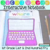 Sight Word Interactive Notebook: First Grade List & 2nd 10