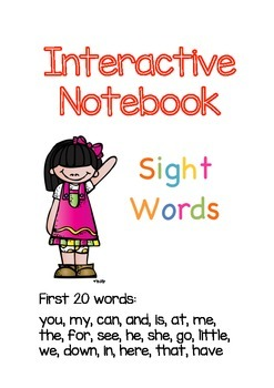 Sight Words Interactive Notebook (Kindergarten-1st Grade) 20 words!