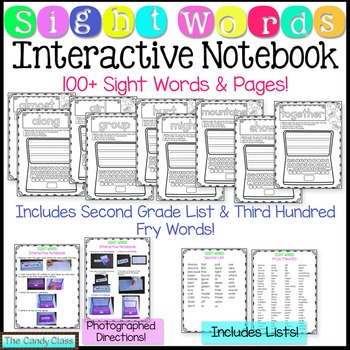 Sight Word Interactive Notebook- Second Grade List & 3rd 100 Fry Words