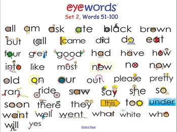Sight Words-Interactive Notebook/Smartboard, Eyewords Words 51-100