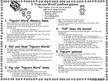 """Sight Words - """"Kiddos Connect With Popcorn Word Games"""""""