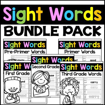 Sight Words Kindergarten, First, and Second Grade Words -