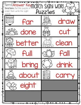Sight Words Kindergarten | March Sight Word Puzzles {3rd Grade}