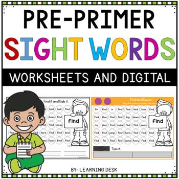 Kindergarten Sight Words Activity Worksheets