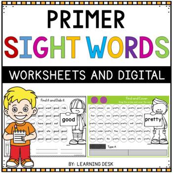 Kindergarten Sight Words Activity Worksheets (Primer)