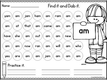 Kindergarten Sight Words Worksheets (Primer)