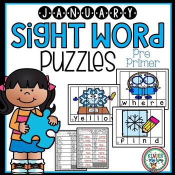 January Sight Word Puzzles {Pre Primer}