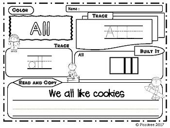 Sight Words (Kindergarten) -  Trace & Build