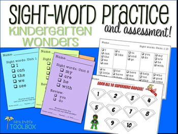 Sight Words Kindergarten Wonders Practice and Assessment