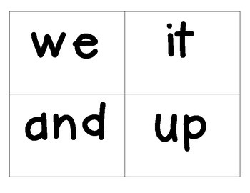 Sight Words Kindergarten Word List A: 25 Sight Words