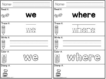 Sight Words Kindergarten Words - Pre-Primer Edition