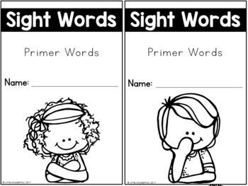 Sight Words Kindergarten Words - Primer Edition
