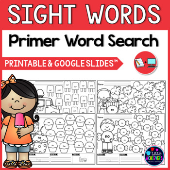 Kindergarten Sight Words Search Worksheets - PRIMER WORDS