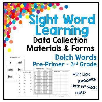 Sight Words Learning - Materials, Data Collection, Forms - Dolch