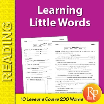 Sight Words: Learning Little Words 2