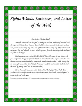 Sight Words, Letter Sounds and Sentences