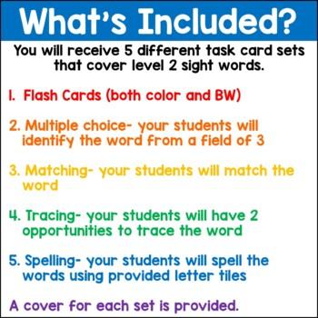 Sight Words Level 2 Task Card Set