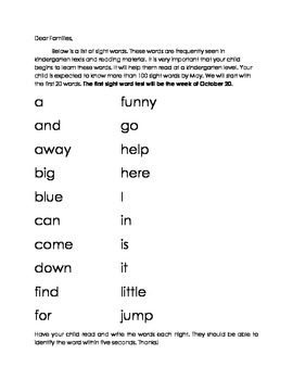 Sight Words List 1