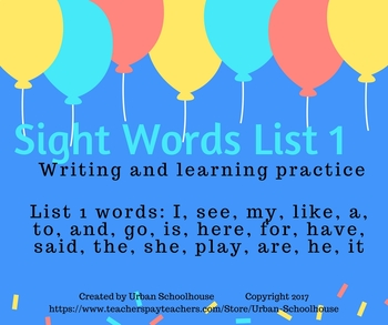 Sight Words List 1 Writing and Learning Practice