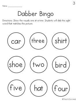 Sight Words Pack 3: Numbers 1-5 and Common Words for special education