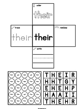 Sight Words Interactive Notebook Second Grade Set 3 (their, call, sleep, five)