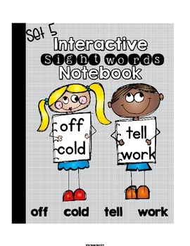Sight Words Interactive Notebook Second Grade Set 5 (off, cold, tell, work)