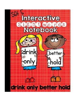 Sight Words Interactive Notebook Third Grade Set 5 (drink, only, better, hold)