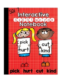 Sight Word  Interactive Notebook Third Grade List Set 7 (pick, hurt, cut, kind)