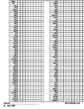 Sight Words List B 101-200 monitoring sheet