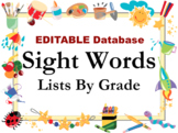 Sight Words List EDITABLE