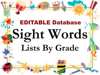 Sight Words List EDITABLE