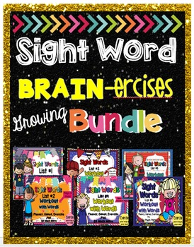 Sight Words Lists 1-5 BRAIN-ercises Bundle with Games, Fla
