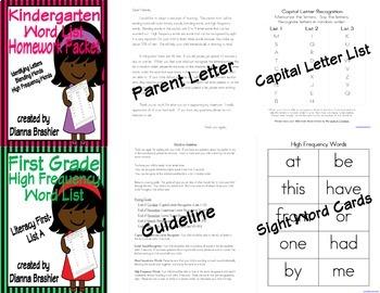Sight Words (Literacy First) Complete Word List Homework Packet Bundled