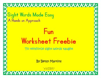 sight words made easy fun worksheet freebie by betsy martins tpt