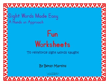 Sight Words Made Easy Fun Worksheets