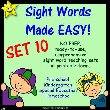 Sight Words, No-Prep Comprehensive Activities, Set 10