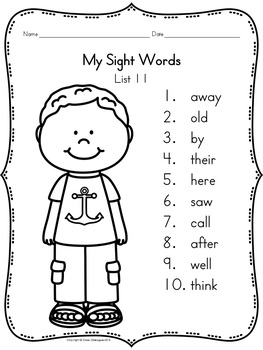 Sight Words, No-Prep Comprehensive Activities, Set 11