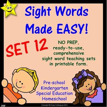 Sight Words, No-Prep Comprehensive Activities, Set 12
