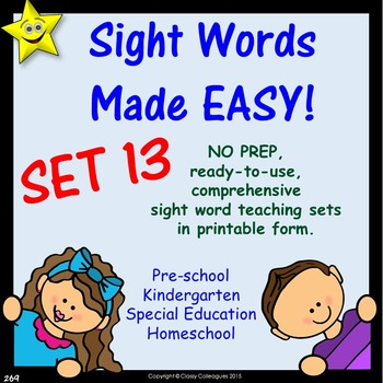 Sight Words, No-Prep Comprehensive Activities, Set 13