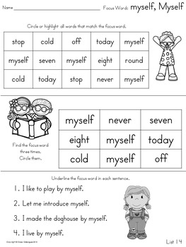 Sight Words, No-Prep Comprehensive Activities, Set 14