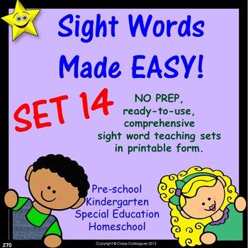 Sight Words, No-Prep Comprehensive Activities, Set 14