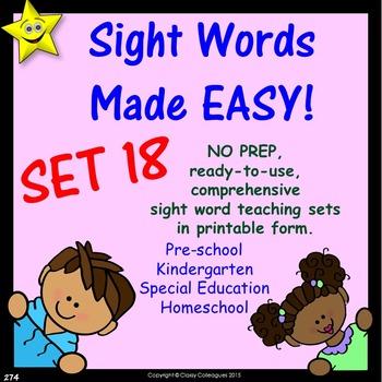 Sight Words, No-Prep Comprehensive Activities, Set 18