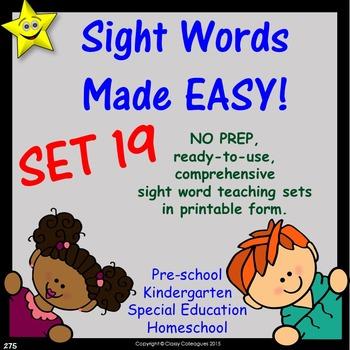 Sight Words, No-Prep Comprehensive Activities, Set 19
