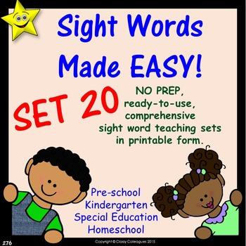 Sight Words, No-Prep Comprehensive Activities, Set 20